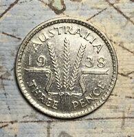 1938 AUSTRALIA SILVER SIXPENCE. FREE SHIPPING