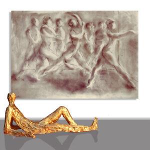 PAINTING MODERN LARGE # ORIGINAL ART  HUMAN DANCE WALL DECOR DRAWING * 78 x 55