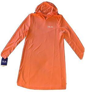 huk womens dress Large With Hoodie Orange
