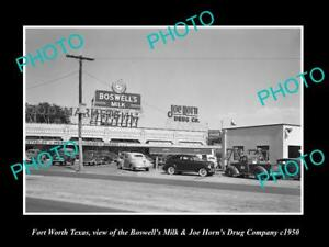 OLD POSTCARD SIZE PHOTO OF FORT WORTH TEXAS THE JOE HORN DRUG STORE c1950