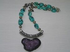 Estate Faux Turquoise & Carved Silvertone Beads w Large Amethyst Druzy Pendant