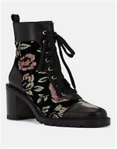 Christian Louboutin TS CROC 70 Floral Velvet Lace Up Boots Heels Shoes $1495