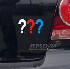 Drei Fragezeichen Aufkleber 10x6cm S076 für Auto Notebook Bike - Weiß Rot Blau