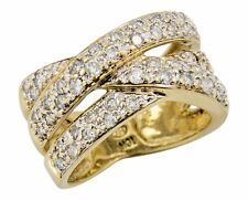 Women's 4/5 ct 3 Row Diamond Band in 10k Solid Yellow Gold