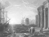 CLAUDE LORRAIN Sea Port SAILING SHIP FRIGATE ~ 1859 SEASCAPE Art Print Engraving
