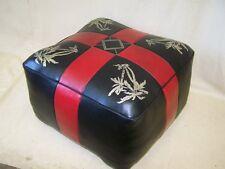Old GDR Seat Cushion, Vintage Design Leather Stool 60er 70er Years Space Age