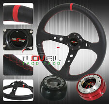350MM DETACHABLE STEERING WHEEL KIT - RED QUICK RELEASE + HUB ADAPTER + BUTTON