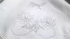 Printed Tablecloth to embroider Waterlily & Dragonfly lace edge cotton CSOO49