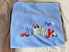 Just Born Blue Fleece Baby Blanket Vehicles Trucks Firetruck Airplane 30 x 36