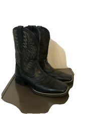 Ariat Sport Western Black Wide Square Toe Cowboy Boots Beige Stitching Size 10D