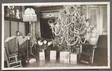 Vintage 1920s Photo Christmas Tree & Holiday Cards in Home Interior 752644