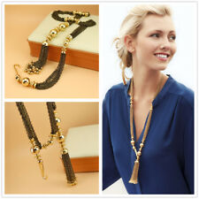 Fashion Golden Long Tassel Pendant Necklace for Women Party Wedding Jewelry Gift