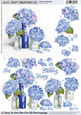 5 x Craft Creations Die-Cut 3D Decoupage - Blue Hydrangeas In Glass Bottles