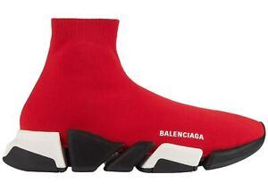 Balenciaga Men Speed 2.0 Sock Red Black Logo High Top Knit Trainer Sneaker 44 11