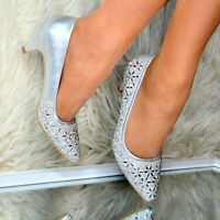 Womens Ladies Diamante Low Kitten Heel Party Prom Pointed toe Court Shoes DRESSY