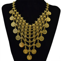Vintage Bib Choker Statement Necklace Coin Tassel Necklace Jewelry Gold Tone