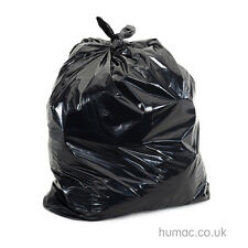 EXTRA HEAVY DUTY Black Bin Bags Refuse Sacks Rubbish Liners 200 per box - HUMAC
