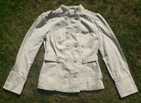 100% Cotton Beige Jacket 10 Military Style Steampunk Pockets Double Breasted