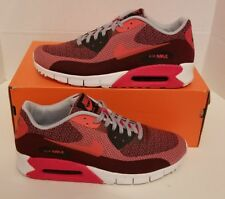 Nike Air Max 90 JCRD Men's Sz 9 NEW 631750 601 Red/Wolf Grey Prm Qs