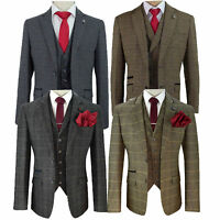 Mens Wool Mix Tweed Checked Blazers Waistcoats Trouser 3 Piece Suits By Cavani