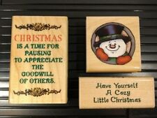 SNOWMAN 4719 Hampton Arts H763 Cozy CR1007 LOT of 3 CHRISTMAS WM Rubber Stamps