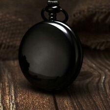 Quartz Pocket Watch Necklace Chain Us Retro Black Smooth Case Steampunk Analog