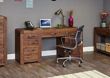 Solid Chunky Walnut Twin Pedestal Home Office Computer Desk | Baumhaus Range