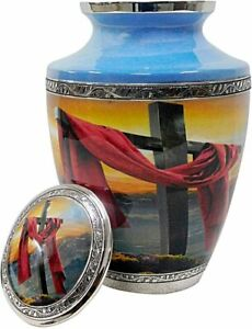 Indian Brass Silver Color Cremation Urns For Adult Ashes Tasty Band Large Size