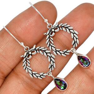 Rainbow Topaz 925 Sterling Silver Earrings Jewelry AE121801 131D