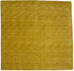 Oriental Modern Square Rug 8X8 Solid Gold Contemporary Wool Hand Loomed Carpet