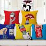 18x18 Home Cotton Linen Car Sofa Bed Waist Cushion Pillow Case Cover Pop Art Lip
