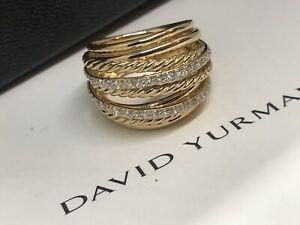 STUNNING DAVID YURMAN 18K GOLD DIAMOND CROSSOVER COLLECTION RING SIZE 7.5