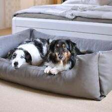 Dog Bed Thickly Upholstered Grey Taupe High Border For Comfort Easy Access