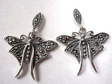 Marcasite Butterfly Stud Earrings Sterling Silver Corona Sun Jewelry