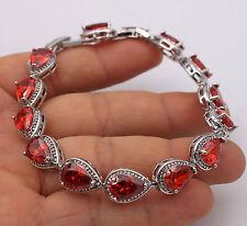 18K White Gold Filled- 7*10MM Ruby Waterdrop Topaz Women Wedding Bracelet 7.7''