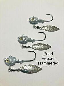3 - Underspin Jig Herring head Bass Striper Walleye 3D Eye Mustad Hooks
