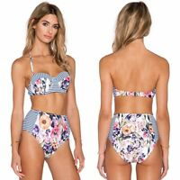 Women Floral Retro High Waist Push Up Padded Bra Bikini Set Swimwear Swimsuit