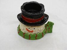 Yankee Candle Snowman Tea Light Holder  With Green Scarf