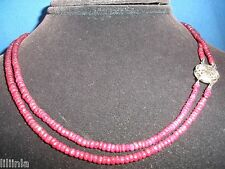 ESTATE 40 CT GENUINE NATURAL RUBY FACETED BEAD NECKLACE OR BRACEKET 14K WG CLASP