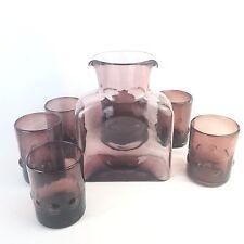 Blenko Amethyst Purple Glass Double Spout Water Bottle w/ Bubble Tumblers