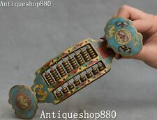 """7""""Collection China Bronze Cloisonne Enamel Bat Beast Abacus Counting Frame Ru Yi"""