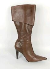River Island Brown Leather High Heel Knee Length Boots Uk 4 Eu 37
