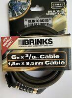 Brinks Combination Lock Bike Lock W/6 Foot X 3/8 Cable Reinforced Cut Strength.