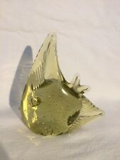 Lemon Colored Glass Tropical Fish Ornament Paperweight Tropical Fish Tank Item