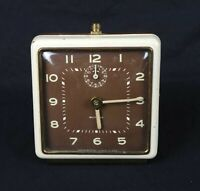 Vintage Mid Century Art Deco Westclox General Made in USA Square Alarm Clock