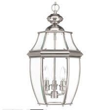 Progress Lighting New Haven 3-Light Outdoor Brushed Nickel Hanging Lantern