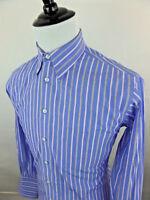 PAUL FREDRICK Men's Button Front Striped 16.5 - 35 Dress Shirt Blue Brown White