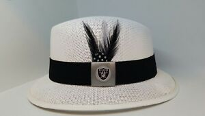 MENS MED WHITE  RAIDERS LOWRIDER HAT FEDORA VINTAGE ROCKABILLY RAT ROD