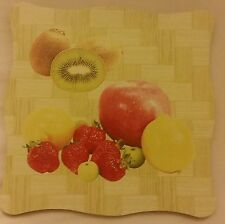 "1 RARE Natural Bamboo Heat Pad, Kitchen Decor, FRUITS, square, approx. 7"" x 7"""