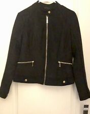 New Kenneth Cole Reaction Women's Black Suede Full Zip Jacket $105 Size M 857*
